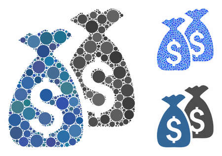 Money bags mosaic of small circles in various sizes and color tinges, based on money bags icon. Vector small circles are grouped into blue mosaic. Dotted money bags icon in usual and blue versions. Ilustrace