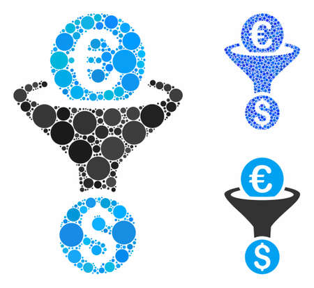 Euro Dollar conversion funnel mosaic of filled circles in different sizes and shades, based on Euro Dollar conversion funnel icon. Vector filled circles are grouped into blue collage. Stock Illustratie