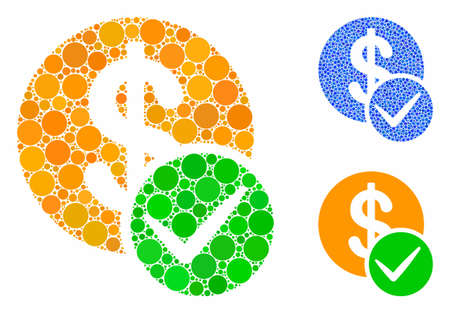 Valid dollar coin mosaic of circle elements in various sizes and color hues, based on valid dollar coin icon. Vector circle elements are grouped into blue mosaic. Illustration