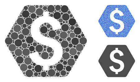 Dollar hexagon composition of circle elements in different sizes and color tinges, based on dollar hexagon icon. Vector circle elements are organized into blue illustration.