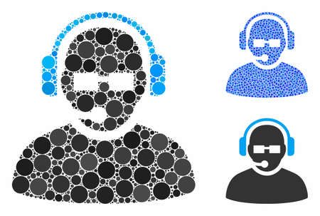 Operator mosaic of filled circles in various sizes and color hues, based on operator icon. Vector small circles are organized into blue illustration. Dotted operator icon in usual and blue versions.