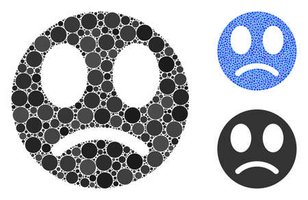 Sad smiley mosaic of small circles in various sizes and color hues, based on sad smiley icon. Vector small circles are composed into blue mosaic. Dotted sad smiley icon in usual and blue versions.
