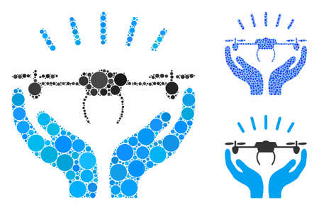 Drone launch hands composition of round dots in various sizes and color tinges, based on drone launch hands icon. Vector round dots are united into blue mosaic.