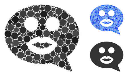 Kiss smiley message mosaic of round dots in various sizes and shades, based on kiss smiley message icon. Vector round dots are organized into blue collage.