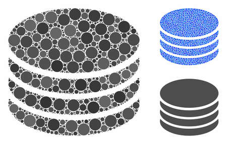 Coin stack composition of round dots in various sizes and color tinges, based on coin stack icon. Vector round elements are combined into blue composition.