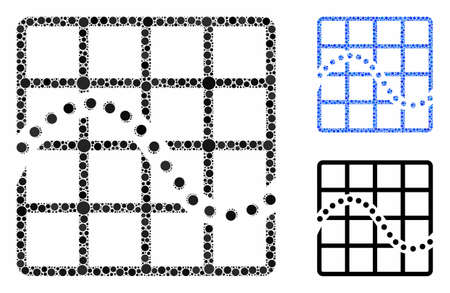 Function chart composition of round dots in different sizes and color hues, based on function chart icon. Vector round dots are united into blue mosaic.