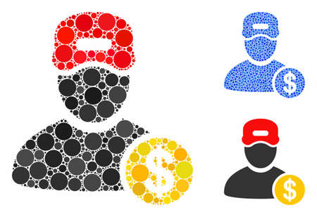Guy salary mosaic of round dots in different sizes and color tinges, based on guy salary icon. Vector small circles are combined into blue mosaic. Dotted guy salary icon in usual and blue versions.