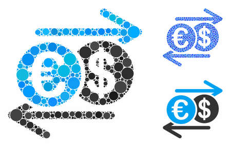 Dollar Euro exchange mosaic of filled circles in various sizes and color tinges, based on Dollar Euro exchange icon. Vector filled circles are grouped into blue mosaic.