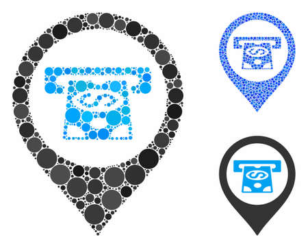 Cash machine pointer composition of round dots in various sizes and color tints, based on cash machine pointer icon. Vector round dots are grouped into blue mosaic.
