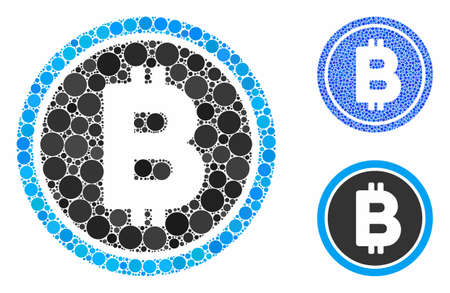Bitcoin coin composition of round dots in various sizes and color tinges, based on Bitcoin coin icon. Vector round dots are combined into blue composition.