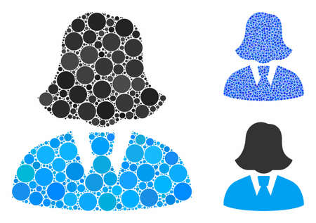 Business lady composition of filled circles in variable sizes and color tinges, based on business lady icon. Vector filled circles are grouped into blue collage.