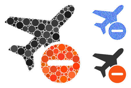 Airplane restricted mosaic of small circles in variable sizes and color hues, based on airplane restricted icon. Vector small circles are organized into blue illustration. Фото со стока - 133433523
