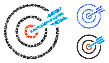 Goal arrow composition of round dots in different sizes and color tints, based on goal arrow icon. Vector round dots are grouped into blue mosaic. Dotted goal arrow icon in usual and blue versions.