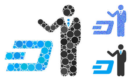 Businessman show Dash composition of spheric dots in different sizes and color tints, based on businessman show Dash icon. Vector dots are combined into blue composition.