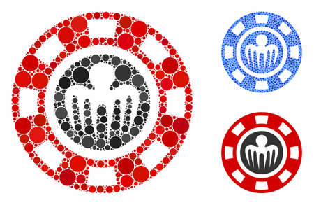 Spectre casino chip mosaic of filled circles in different sizes and color tinges, based on spectre casino chip icon. Vector filled circles are combined into blue mosaic.