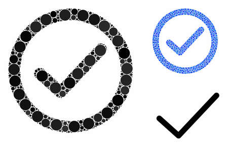 OK option composition of spheric dots in various sizes and color hues, based on OK option icon. Vector dots are grouped into blue collage. Dotted OK option icon in usual and blue versions. Stock Illustratie