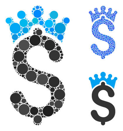 Business crown mosaic of small circles in variable sizes and color tints, based on business crown icon. Vector small circles are grouped into blue composition.