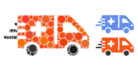 Emergency car composition of spheric dots in different sizes and shades, based on emergency car icon. Vector dots are grouped into blue collage. Dotted emergency car icon in usual and blue versions.