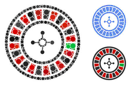 Roulette mosaic of filled circles in different sizes and shades, based on roulette icon. Vector small circles are organized into blue mosaic. Dotted roulette icon in usual and blue versions.