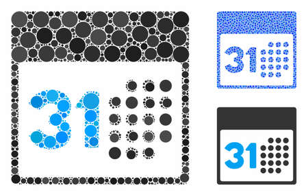 Last month day mosaic of round dots in different sizes and shades, based on last month day icon. Vector round elements are united into blue illustration.