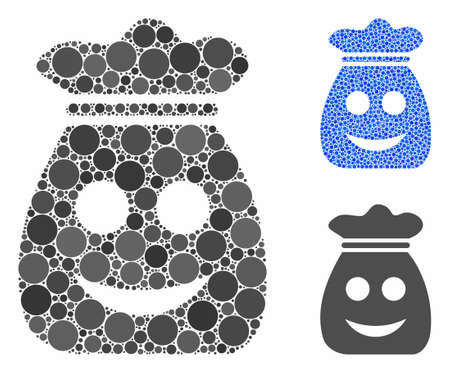 Happy harvest bag mosaic of small circles in various sizes and shades, based on happy harvest bag icon. Vector small circles are organized into blue illustration.