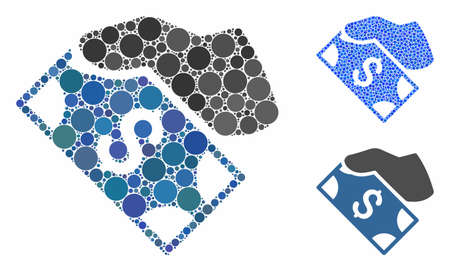 Cash payment hand mosaic of small circles in various sizes and color tinges, based on cash payment hand icon. Vector small circles are composed into blue illustration. Stock Illustratie