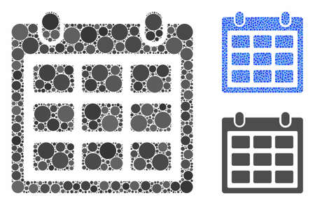 Calendar mosaic of round dots in various sizes and shades, based on calendar icon. Vector dots are united into blue mosaic. Dotted calendar icon in usual and blue versions.