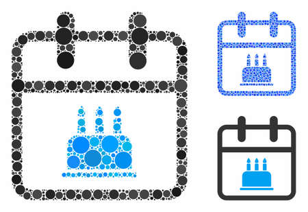 Birthday composition of circle elements in variable sizes and color tints, based on birthday icon. Vector circle elements are grouped into blue illustration.