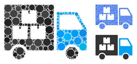 Goods transportation car composition of spheric dots in various sizes and color tinges, based on goods transportation car icon. Vector dots are organized into blue composition. Çizim
