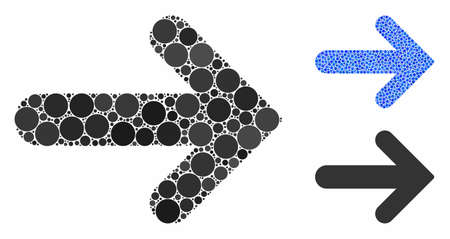 Arrow right mosaic of filled circles in variable sizes and shades, based on arrow right icon. Vector dots are combined into blue mosaic. Dotted arrow right icon in usual and blue versions. Illusztráció