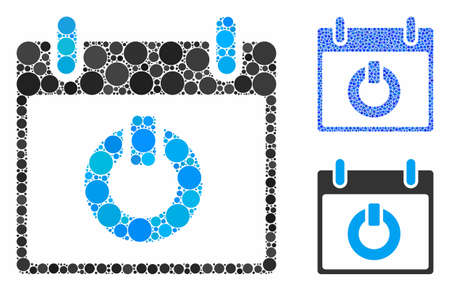 Turn on calendar day composition of filled circles in variable sizes and shades, based on turn on calendar day icon. Vector filled circles are organized into blue illustration.