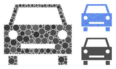 Car composition of circle elements in various sizes and shades, based on car icon. Vector circle elements are composed into blue composition. Dotted car icon in usual and blue versions.