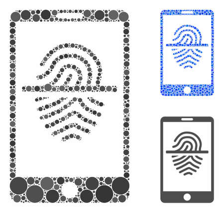 Smartphone fingerprint scanner composition of filled circles in different sizes and color hues, based on smartphone fingerprint scanner icon. Vector filled circles are composed into blue composition.