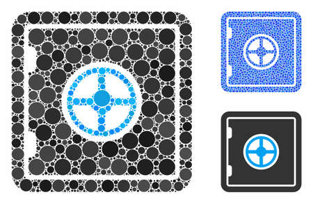 Safe composition of circle elements in various sizes and color tints, based on safe icon. Vector round elements are organized into blue composition. Dotted safe icon in usual and blue versions. Illustration