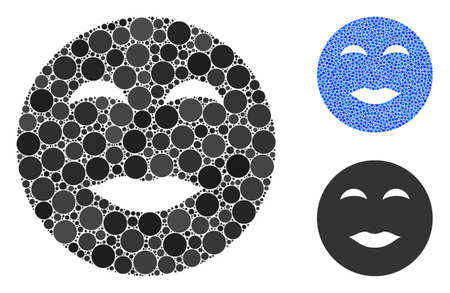 Lady pleasure smiley composition of round dots in different sizes and color hues, based on lady pleasure smiley icon. Vector round elements are grouped into blue composition.