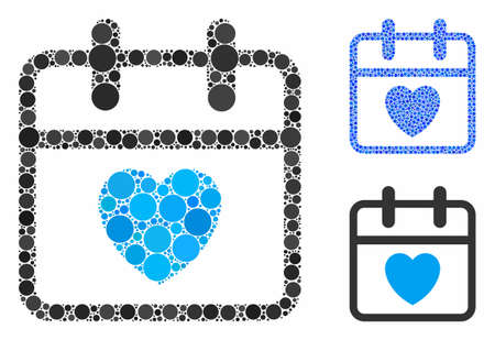 Love day mosaic of small circles in different sizes and color tints, based on love day icon. Vector filled circles are grouped into blue mosaic. Dotted love day icon in usual and blue versions. Stock Illustratie
