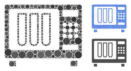 Sterilizer mosaic of filled circles in variable sizes and color tinges, based on sterilizer icon. Vector filled circles are combined into blue composition.