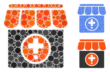 Drugstore composition of spheric dots in variable sizes and color hues, based on drugstore icon. Vector dots are organized into blue illustration. Dotted drugstore icon in usual and blue versions.