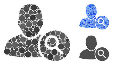 Search user composition of round dots in variable sizes and color hues, based on search user icon. Vector dots are combined into blue composition. Dotted search user icon in usual and blue versions. Banque d'images - 133434363
