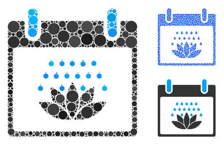 Spa shower calendar day mosaic of circle elements in various sizes and shades, based on spa shower calendar day icon. Vector circle elements are organized into blue collage. Stock Illustratie
