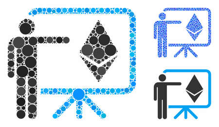 Ethereum lecture board mosaic of small circles in variable sizes and shades, based on Ethereum lecture board icon. Vector small circles are grouped into blue mosaic.