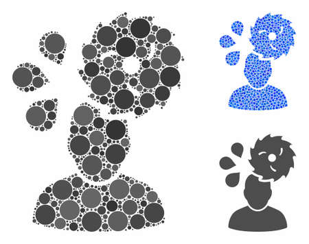 Circular saw accident composition of round dots in various sizes and color tinges, based on circular saw accident icon. Vector dots are united into blue composition.