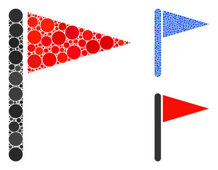 Triangle flag composition of round dots in variable sizes and shades, based on triangle flag icon. Vector round dots are grouped into blue illustration. Ilustrace