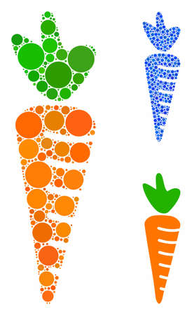 Carrot composition of filled circles in various sizes and color tones, based on carrot icon. Vector filled circles are grouped into blue illustration. Dotted carrot icon in usual and blue versions. Illustration
