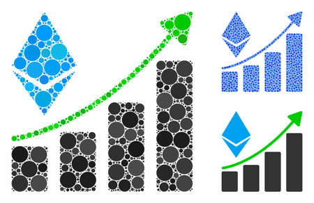 Ethereum growth trend composition of small circles in variable sizes and shades, based on Ethereum growth trend icon. Vector small circles are united into blue composition.