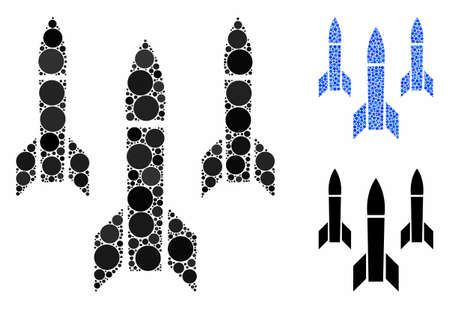 Missiles mosaic of small circles in variable sizes and color hues, based on missiles icon. Vector filled circles are combined into blue illustration. Dotted missiles icon in usual and blue versions.