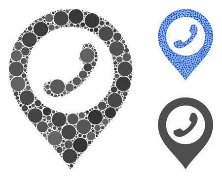Phone marker mosaic of circle elements in various sizes and shades, based on phone marker icon. Vector circle elements are combined into blue mosaic. Фото со стока - 133434401
