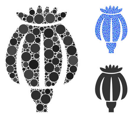 Opium poppy mosaic of round dots in various sizes and color hues, based on opium poppy icon. Vector round dots are united into blue mosaic. Dotted opium poppy icon in usual and blue versions. Фото со стока - 133434466