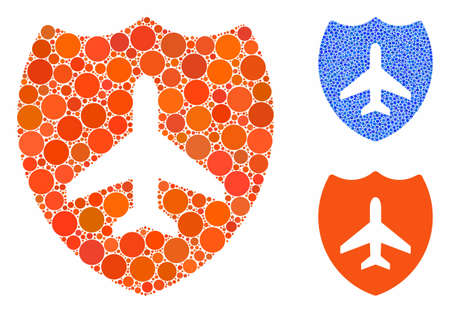 Aviation shield mosaic of spheric dots in variable sizes and color tints, based on aviation shield icon. Vector round dots are organized into blue mosaic.