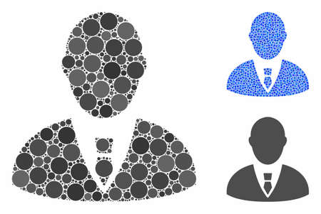 Manager mosaic of small circles in various sizes and color tinges, based on manager icon. Vector small circles are grouped into blue mosaic. Dotted manager icon in usual and blue versions. Illusztráció